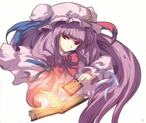 Rating: Safe Score: 16 Tags: book hat long_hair mage patchouli_knowledge purple_eyes purple_hair ribbons touhou white User: mikucchi