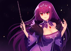 Rating: Safe Score: 47 Tags: breasts cleavage dress fate/grand_order fate_(series) headdress kari_(hotaru_kago) long_hair necklace purple purple_hair red_eyes scathach_(fate/grand_order) signed wand User: otaku_emmy