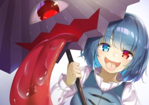 Rating: Safe Score: 31 Tags: bicolored_eyes blue_hair close piyodesu short_hair tatara_kogasa touhou umbrella User: otaku_emmy