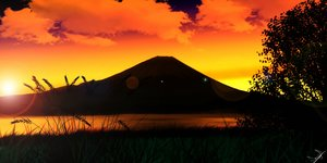 Rating: Safe Score: 129 Tags: clouds grass landscape orange scan scenic signed silhouette sky sunset tree water User: Danicoify