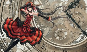 Rating: Safe Score: 324 Tags: bicolored_eyes black_hair boots choker date_a_live gothic gun infukun lolita_fashion long_hair sword tokisaki_kurumi twintails weapon User: FormX