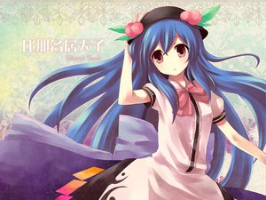 Rating: Safe Score: 46 Tags: blue_hair dress fummy hat hinanawi_tenshi long_hair red_eyes touhou User: acucar11
