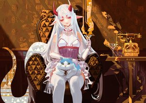 Rating: Safe Score: 41 Tags: alcd animal cat drink elbow_gloves gloves horns long_hair original pixiv_fantasia pointed_ears red_eyes thighhighs white_hair User: RyuZU