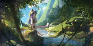 Rating: Safe Score: 37 Tags: animal barefoot blue_eyes blue_hair clouds flowers forest headdress horns leaves loli long_hair observerz original shade signed sky tail tree water User: SciFi