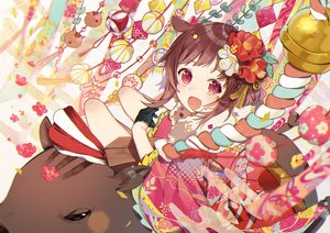Rating: Safe Score: 73 Tags: animal bell brown_hair flowers gloves japanese_clothes kimono omutatsu original red_eyes rope short_hair User: BattlequeenYume