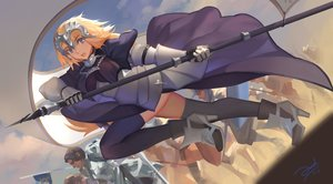 Rating: Safe Score: 16 Tags: armor bianyuanqishi blonde_hair caster chain elbow_gloves fate/apocrypha fate_(series) gilles_de_rais_(fate) gloves headdress jeanne_d'arc_(fate) long_hair male purple_eyes thighhighs User: FormX