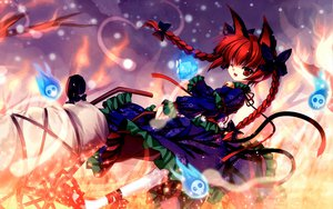 Rating: Safe Score: 55 Tags: animal_ears capura_lin catgirl kaenbyou_rin multiple_tails red_eyes red_hair tail touhou wink User: jjj14