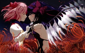 Rating: Safe Score: 32 Tags: 2girls akemi_homura akuma_homura black_hair flowers kaname_madoka long_hair mahou_shoujo_madoka_magica pink_hair short_hair shoujo_ai tagme_(artist) wings User: mattiasc02
