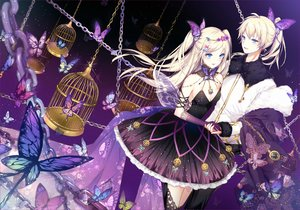 Rating: Safe Score: 47 Tags: aqua_eyes blonde_hair butterfly cage chain dress elbow_gloves gloves kagamine_len kagamine_rin kinoko_hime long_hair male ponytail twintails vocaloid User: RyuZU