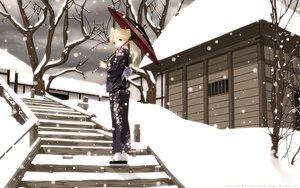 Rating: Safe Score: 151 Tags: blonde_hair blue_eyes building japanese_clothes kantoku kimura_kaere ponytail sayonara_zetsubou_sensei snow tree umbrella winter yukata User: gnarf1975