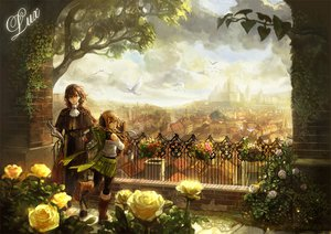 Rating: Safe Score: 99 Tags: animal bird blue_eyes boots bow brown_hair building chibi_(shimon) city clouds flowers green_eyes landscape original rose scarf scenic sky tree User: opai