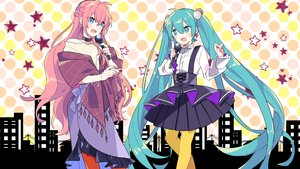 Rating: Safe Score: 21 Tags: hatsune_miku megurine_luka microphone vocaloid yoshiki User: FormX