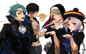 Rating: Safe Score: 50 Tags: aqua_hair bandage black_hair blood braids chinese_clothes closers cosplay cross eyepatch fang green_eyes group halloween harpy_(closers) hat headdress horns knife levia_(closers) male nata_(closers) necklace nun pointed_ears ponytail red_eyes scar short_hair signed tagme_(character) vampire weapon white_hair yukibi User: otaku_emmy