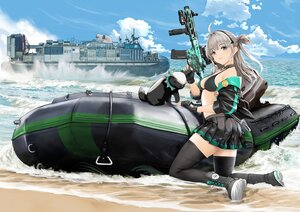Rating: Safe Score: 70 Tags: aliasing animal anthropomorphism beach bikini_top boat gibun_(sozoshu) girls_frontline gun honey_badger_(girls_frontline) weapon User: BattlequeenYume