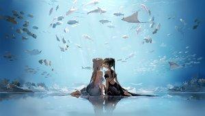 Rating: Safe Score: 138 Tags: 2girls animal anmi barefoot blue_eyes brown_hair dress fish gray_hair long_hair original ponytail reflection shoujo_ai underwater water User: Dreista