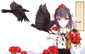 Rating: Safe Score: 44 Tags: animal bird black_hair camera ef_(ppps33) flowers hat mask pointed_ears red_eyes shameimaru_aya short_hair touhou white User: RyuZU