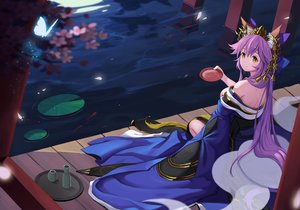 Rating: Safe Score: 81 Tags: animal_ears baseness bell breasts butterfly cherry_blossoms drink fate/extra fate_(series) flowers foxgirl japanese_clothes long_hair petals purple_hair tamamo_no_mae_(fate) water yellow_eyes User: RyuZU