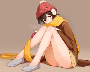 Rating: Safe Score: 64 Tags: brown brown_hair earmuffs hat maeshimashi original panties scarf short_hair skirt socks underwear yellow_eyes User: BattlequeenYume