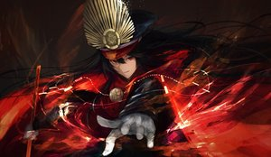 Rating: Safe Score: 44 Tags: black_hair cape fate/grand_order fate_(series) gloves hat katana long_hair magic marumoru nobunaga_oda_(fate) red_eyes sword weapon User: luckyluna