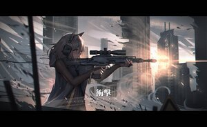 Rating: Safe Score: 43 Tags: anthropomorphism blue_eyes girls_frontline gm6_lynx_(girls_frontline) gun headphones weapon white_hair yurichtofen User: boomshadow