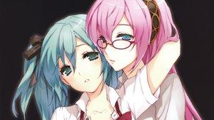 Rating: Safe Score: 165 Tags: blue_eyes blue_hair cropped cuteg glasses hatsune_miku megurine_luka pink_hair scan vocaloid User: acucar11