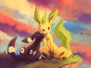 Rating: Safe Score: 83 Tags: brown_eyes clouds grass leafeon pokemon purple_kecleon red_eyes signed sky sunset tail umbreon User: STORM