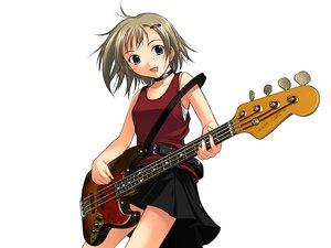 Rating: Safe Score: 14 Tags: blue_eyes guitar honda_naoki instrument short_hair skirt white User: Oyashiro-sama