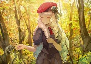 Rating: Safe Score: 42 Tags: aikatsu! animal book bow forest gray_hair hat koruse long_hair shirogane_lily tree User: RyuZU