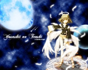 Rating: Safe Score: 23 Tags: blonde_hair blue brown_eyes feathers halo moon short_hair space wings User: Oyashiro-sama