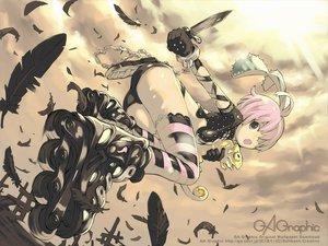 Rating: Safe Score: 42 Tags: gagraphic haku_(sabosoda) logo original pink_hair short_hair sword watermark weapon User: Nucleo-colour