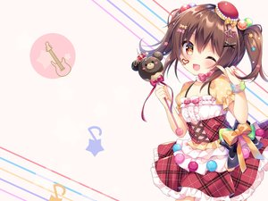 Rating: Safe Score: 51 Tags: blush bow brown_hair candy chocolate dress fang loli red_eyes ribbons twintails umeko_machi wand wink wristwear User: 蕾咪