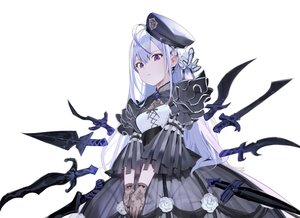 Rating: Safe Score: 76 Tags: goth-loli gray_hair lolita_fashion long_hair misoni_comi original purple_eyes sword weapon white User: Dreista