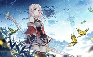 Rating: Safe Score: 96 Tags: animal asuka_(louyun) butterfly clouds fish flowers green_eyes long_hair original sky thighhighs white_hair User: RyuZU