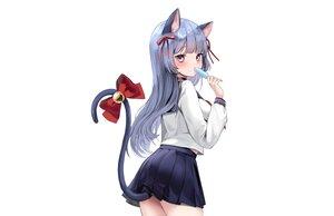 Rating: Safe Score: 80 Tags: animal_ears bell blue_hair bow catgirl choker lillly long_hair original popsicle purple_eyes ribbons school_uniform skirt tail white User: otaku_emmy