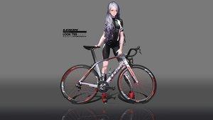Rating: Safe Score: 53 Tags: bicycle bike_shorts gloves gradient hitomi_kazuya long_hair original purple_hair shorts skintight third-party_edit watermark User: gnarf1975