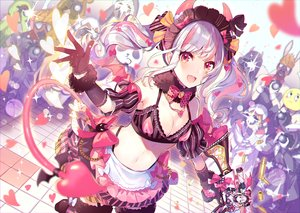 Rating: Safe Score: 44 Tags: bow gloves gray_hair gun headband horns knives_out long_hair maid navel necklace saine_(artist) stockings tagme_(character) tail twintails weapon User: BattlequeenYume