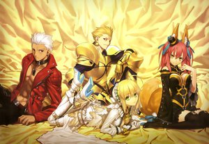 Rating: Safe Score: 189 Tags: animal_ears archer armor blonde_hair breasts brown_eyes cleavage dress fate/extra fate_(series) fate/stay_night gilgamesh green_eyes hat male nero_claudius_(bride) nero_claudius_(fate) pink_hair red_eyes scan tail takeuchi_takashi tamamo_no_mae_(fate) thighhighs white_hair yellow_eyes User: Wiresetc