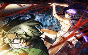 Rating: Safe Score: 104 Tags: blood breasts busujima_saeko cleavage glasses highschool_of_the_dead hirano_kohta panties purple_hair underwear weapon User: pantu