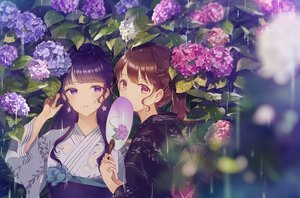 Rating: Safe Score: 71 Tags: 2girls aliasing blush brown_hair fan flowers japanese_clothes kusaka_kou leaves long_hair original pink_eyes ponytail purple_eyes purple_hair rain water yukata User: Arsy