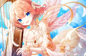 Rating: Safe Score: 64 Tags: angel aqua_eyes bow braids breasts cleavage clouds dress elbow_gloves feathers gloves instrument lolita_fashion onsem orange_hair original short_hair sky wings User: BattlequeenYume