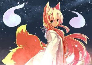Rating: Safe Score: 65 Tags: animal_ears blonde_hair foxgirl kuya-san long_hair night orange_hair original sora_nin stars tail yellow_eyes yu-ves User: Tensa