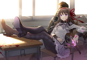 Rating: Safe Score: 45 Tags: akemi_homura black_hair blood headband long_hair magic mahou_shoujo_madoka_magica nemovo pantyhose purple_eyes ribbons skirt waifu2x User: BattlequeenYume