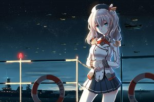 Rating: Safe Score: 188 Tags: aircraft anthropomorphism aqua_eyes gray_hair hat kantai_collection kashima_(kancolle) long_hair phantania skirt sky stars uniform User: Flandre93