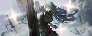 Rating: Safe Score: 51 Tags: arknights cropped gh_(chen_ghh) green_hair horns hoshiguma_(arknights) katana long_hair mask sword weapon User: BattlequeenYume