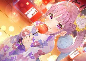 Rating: Safe Score: 59 Tags: apple blush candy festival food fruit hololive japanese_clothes long_hair minato_aqua nari_(narikashi) ponytail purple_eyes purple_hair summer yukata User: BattlequeenYume