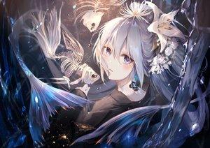 Rating: Safe Score: 63 Tags: animal blue_eyes bones fish flowers kouyafu long_hair original ponytail water waterfall User: BattlequeenYume