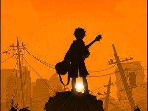 Rating: Safe Score: 10 Tags: flcl guitar instrument nandaba_naota sunset User: Oyashiro-sama