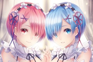 Rating: Safe Score: 54 Tags: close ram_(re:zero) rem_(re:zero) re:zero_kara_hajimeru_isekai_seikatsu sliverbin twins User: sadodere-chan