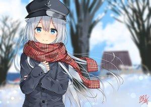 Rating: Safe Score: 82 Tags: anthropomorphism aqua_eyes gray_hair hibiki_(kancolle) kantai_collection long_hair miko_fly scarf signed snow tree winter User: RyuZU