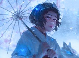 Rating: Safe Score: 77 Tags: animal black_hair blue_eyes fox guweiz headdress japanese_clothes kimono noragami nora_(noragami) short_hair tattoo umbrella User: mattiasc02